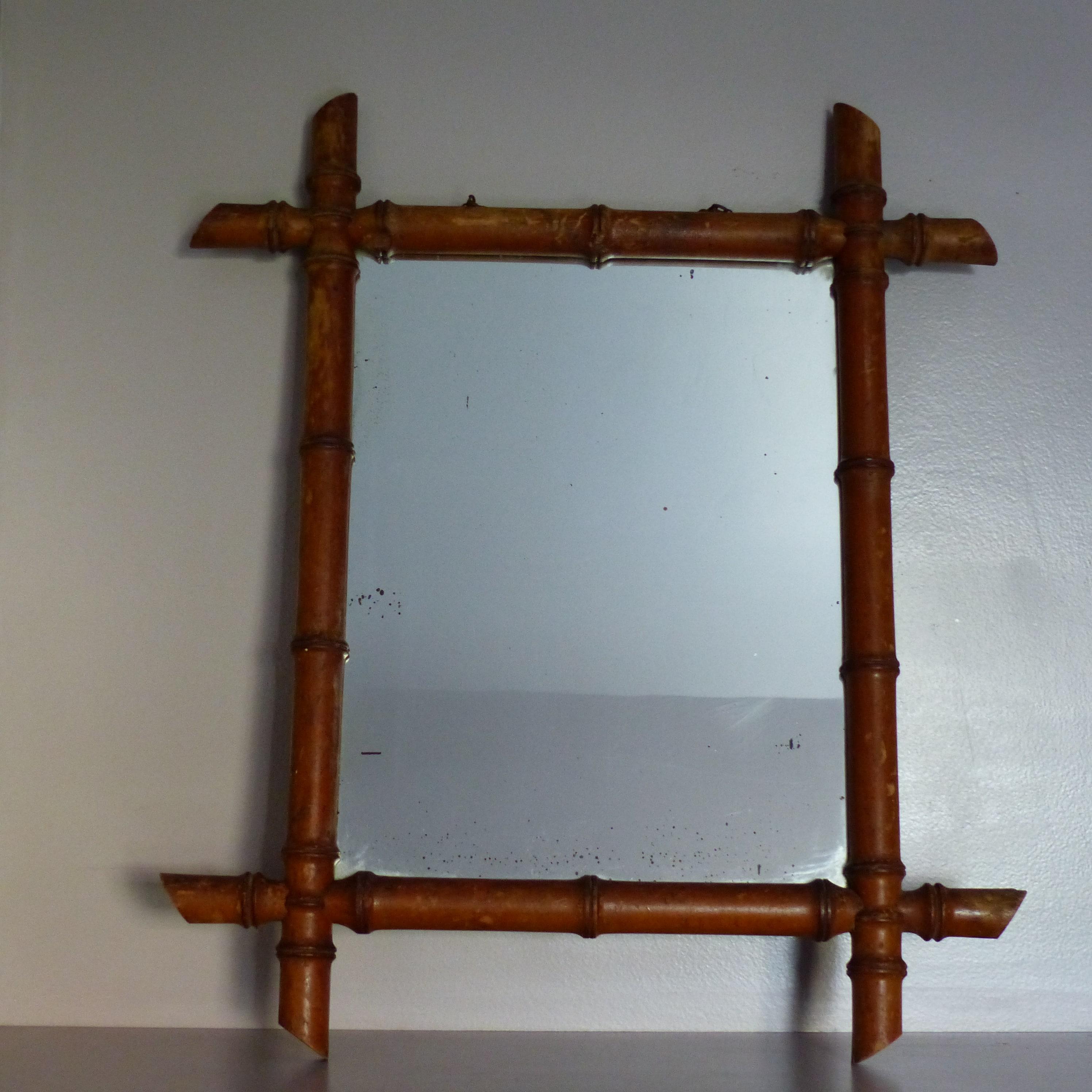 miroir vintage fa on bambou lignedebrocante brocante en. Black Bedroom Furniture Sets. Home Design Ideas