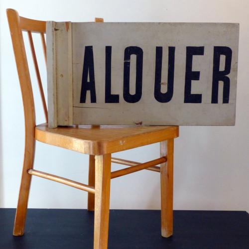 Ancienne enseigne en bois «A LOUER»