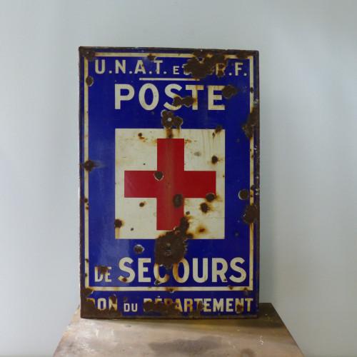 Ancienne plaque émaillée Poste de Secours