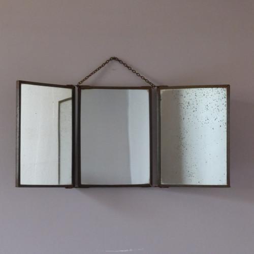 Ancien miroir de barbier triptyque