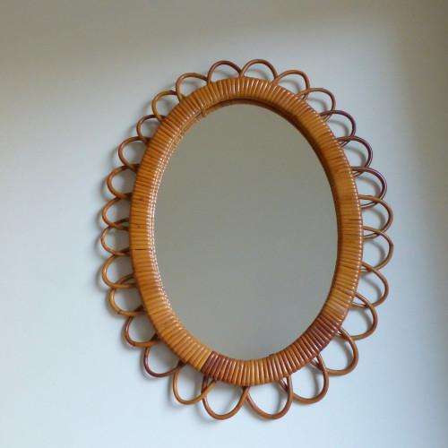 Miroir fleur en rotin vintage