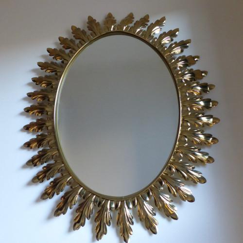 Miroir vintage à décor de feuilles