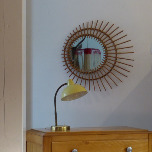 Miroir en rotin asymétrique