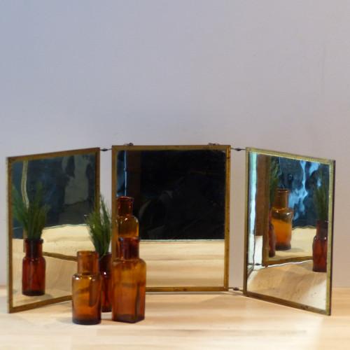 Miroir de barbier triptyque doré