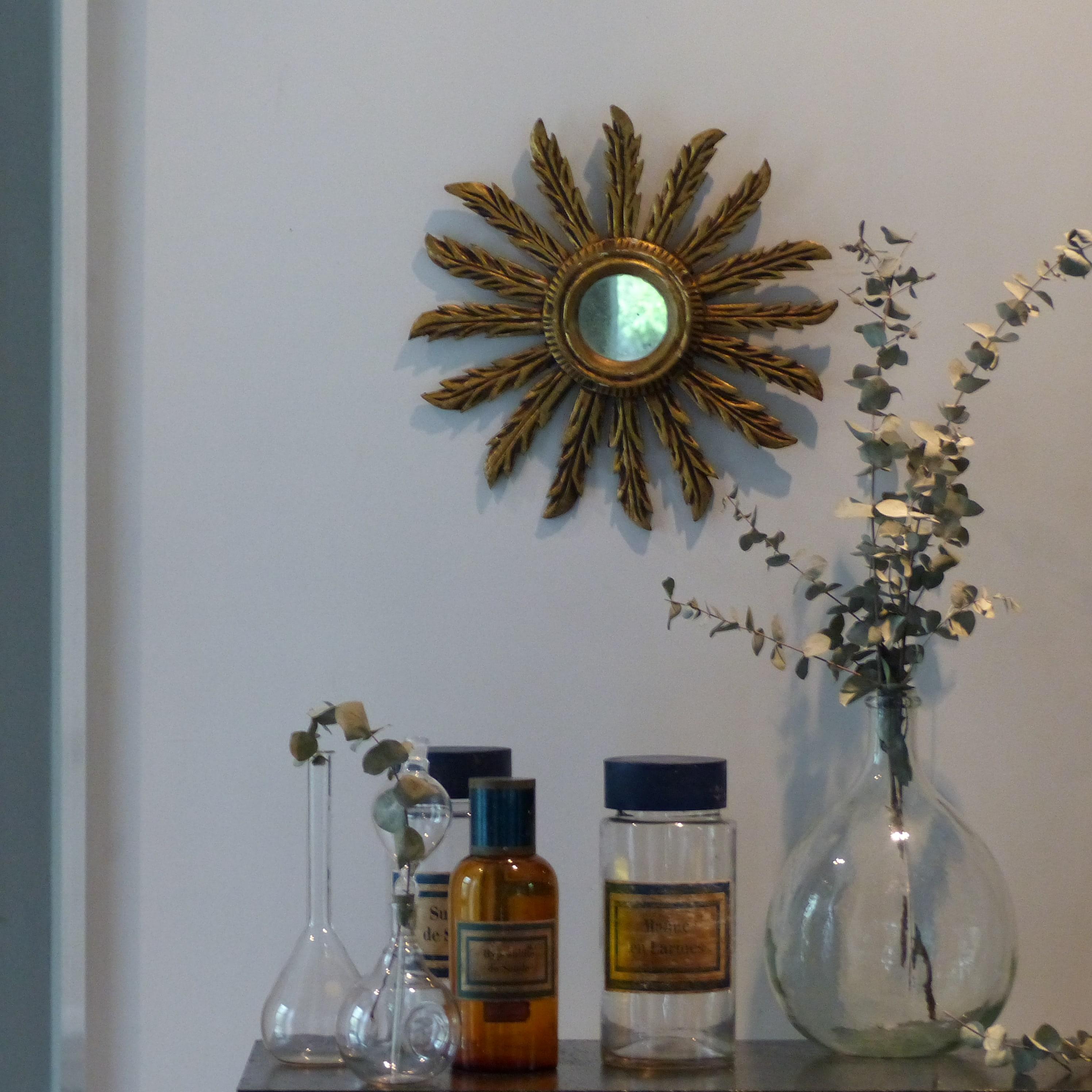 Miroir soleil en bois dor lignedebrocante brocante en for Petit miroir soleil