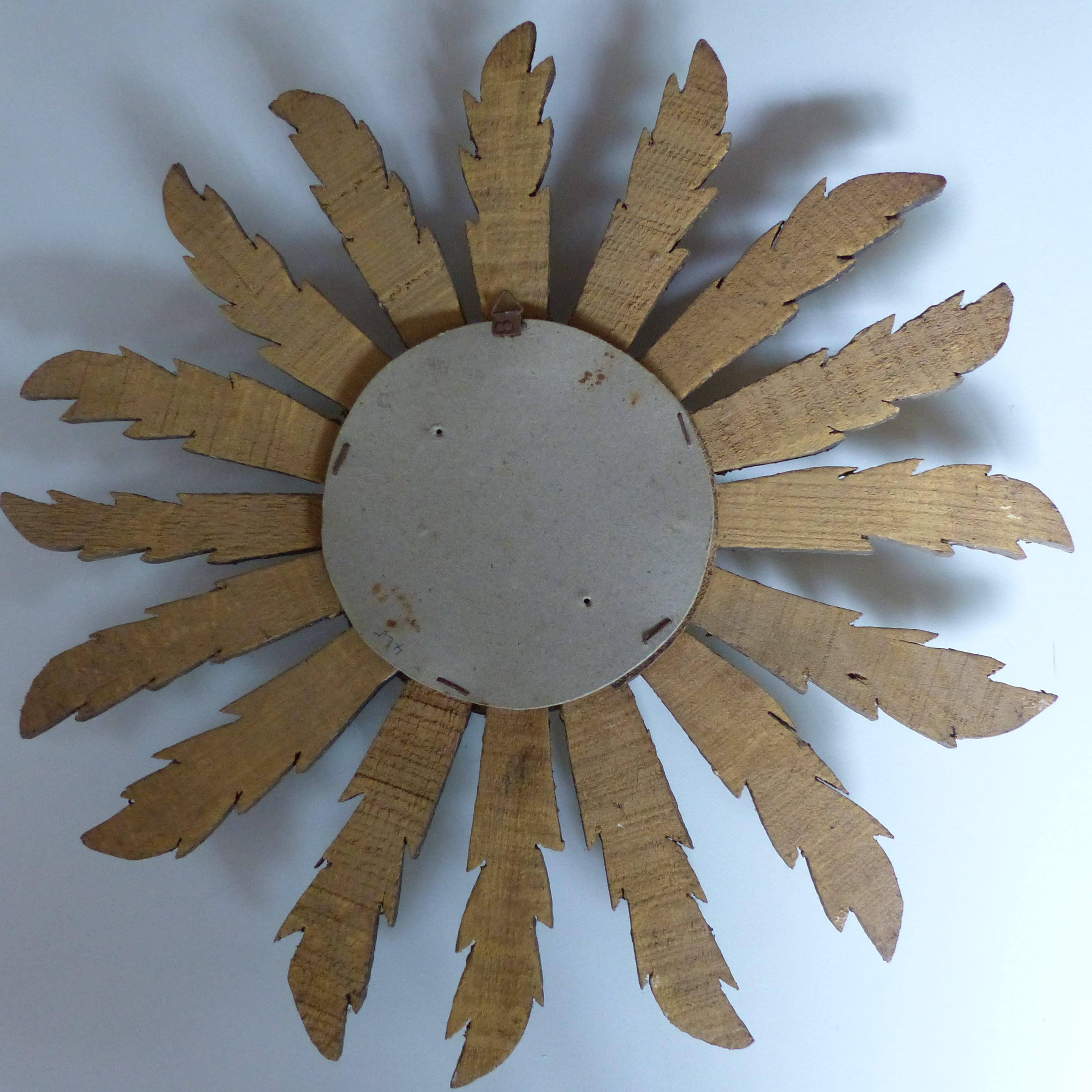 Miroir soleil en bois dor lignedebrocante brocante en for Miroir soleil bois