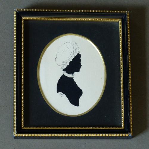 Cadre style Napoléon III - Silhouette d'une femme