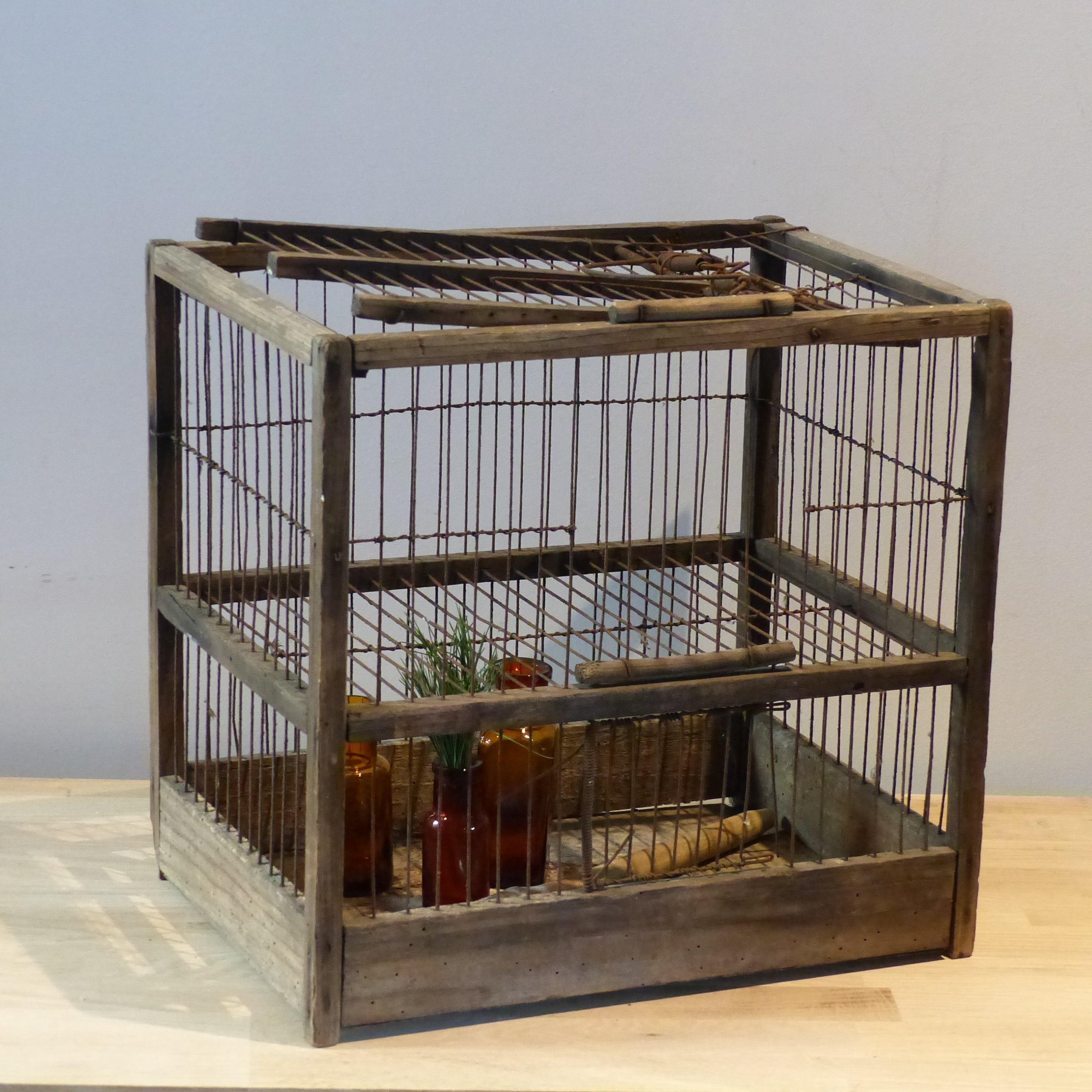 Petite cage oiseaux grillag e lignedebrocante brocante for Cages a oiseaux decoratives