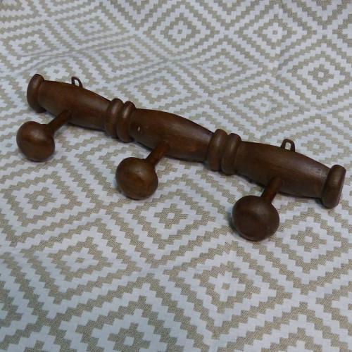Porte-manteaux vintage en bois façon bambou - 3 patères