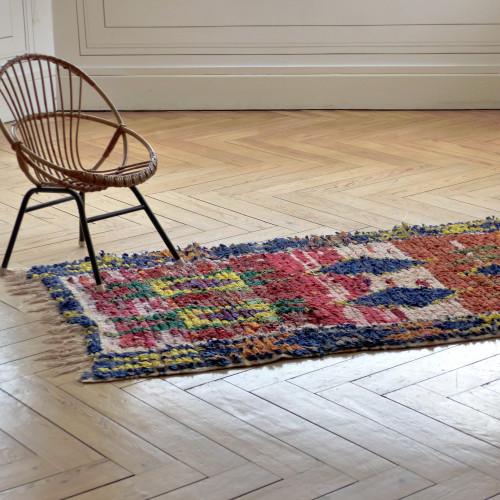 Petit tapis Bouchérouite motifs losanges bleus