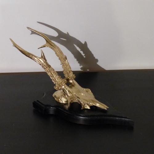 Petit trophée de chasse déco noir et doré