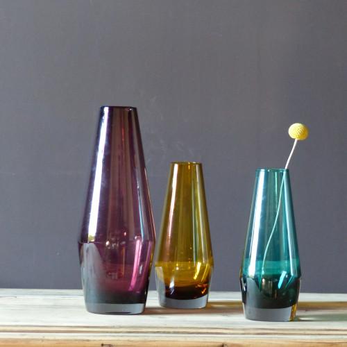 Série de 3 vases en verre Riihimaki