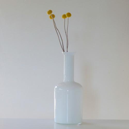 Vase vintage en verre blanc