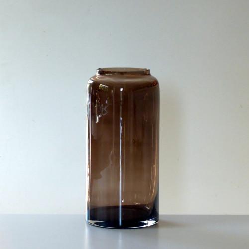 Grand vase vintage en verre fumé