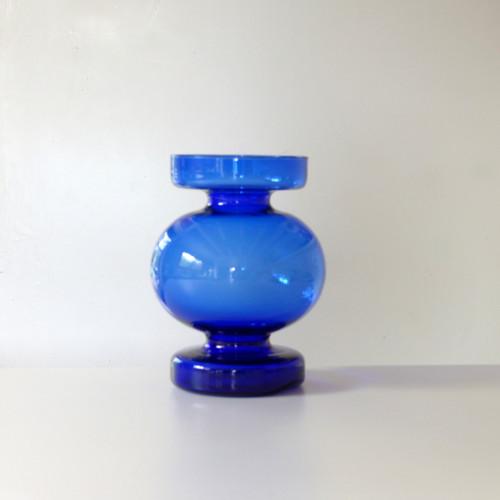 Vase vintage en verre bleu Cobalt