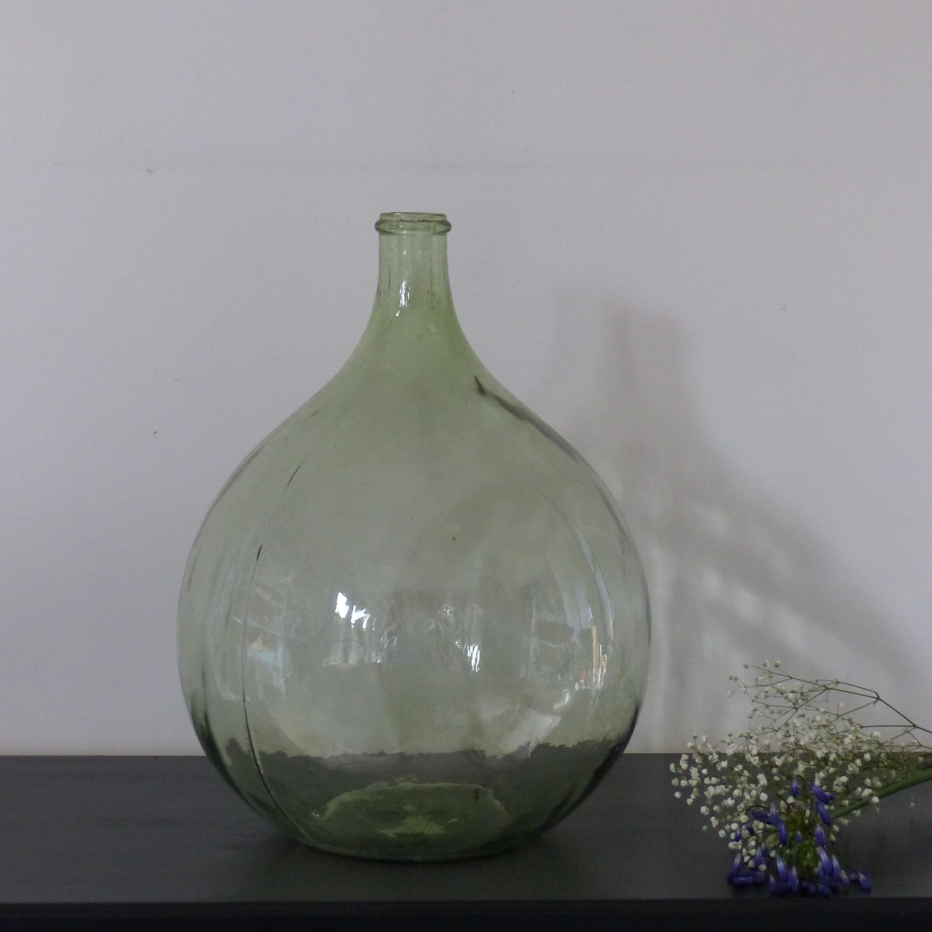 dame jeanne en verre souffl vert lignedebrocante. Black Bedroom Furniture Sets. Home Design Ideas