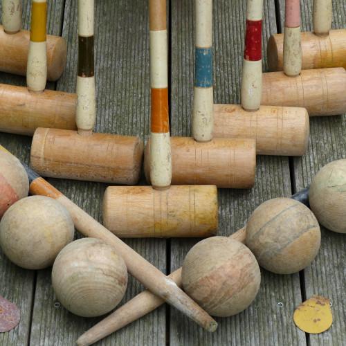 Ancien jeu de croquet en bois