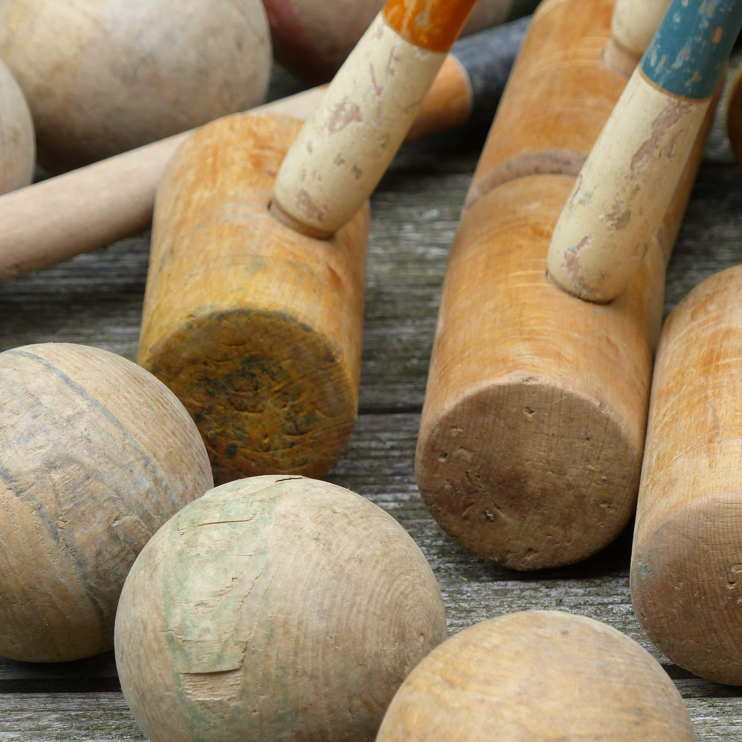 Ancien jeu de croquet en bois  lignedebrocante brocante en ligne  ~ Jeux De Croquet En Bois