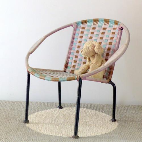 Fauteuil corbeille pour enfant en corde de nylon