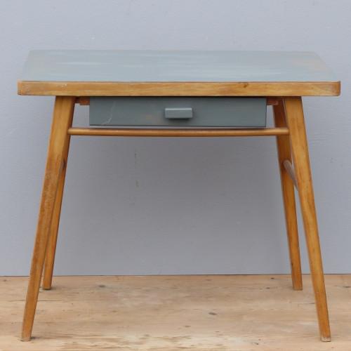 Petit bureau pour enfant avec plateau et tiroir gris