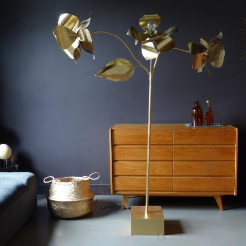 Lampadaire fleur en métal doré