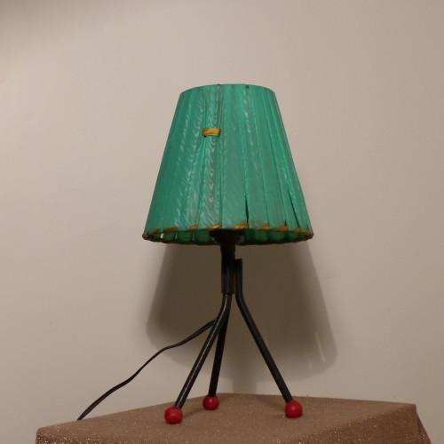Lampe de chevet vintage tripode (abat-jour en raphia de nylon vert foncé)