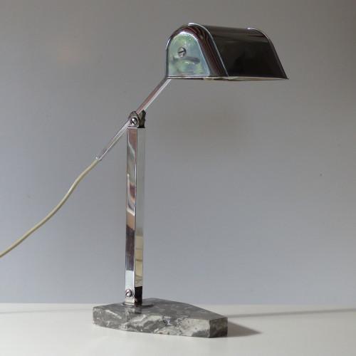 Lampe de bureau art déco chromée