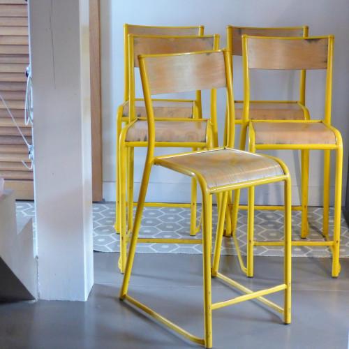 Suite de 3 chaises hautes d'atelier