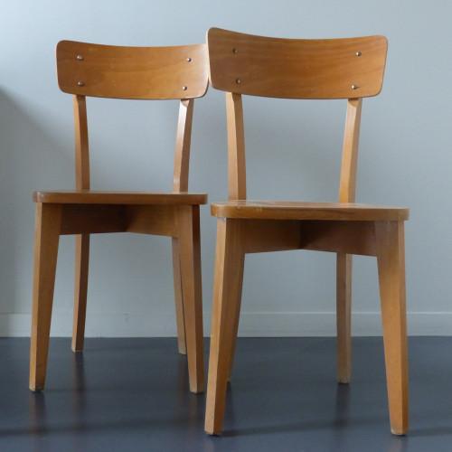 Paire de chaises bistrot à entretoise en X