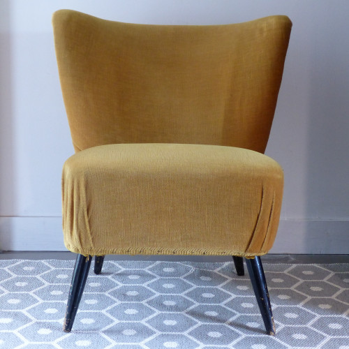 Paire de fauteuils cocktail moutarde