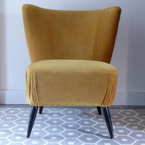 Paire de fauteuils cocktail moutarde