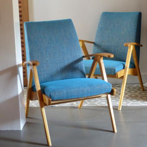 Paire de fauteuils vintage en hêtre