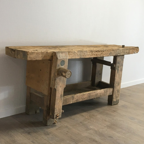 Ancien tabli en bois lignedebrocante brocante en ligne - Etabli industriel ancien ...