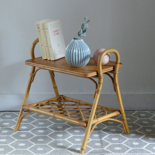 Table de chevet vintage en rotin