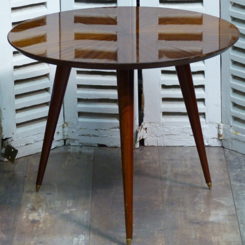 Table tripode des années 50 en bois vernis
