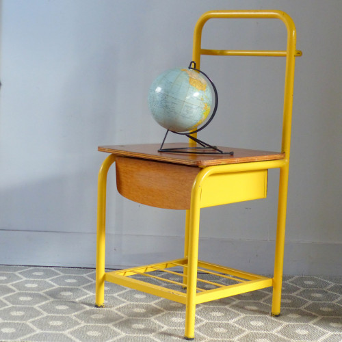 Table de chevet/chaise d'internat jaune